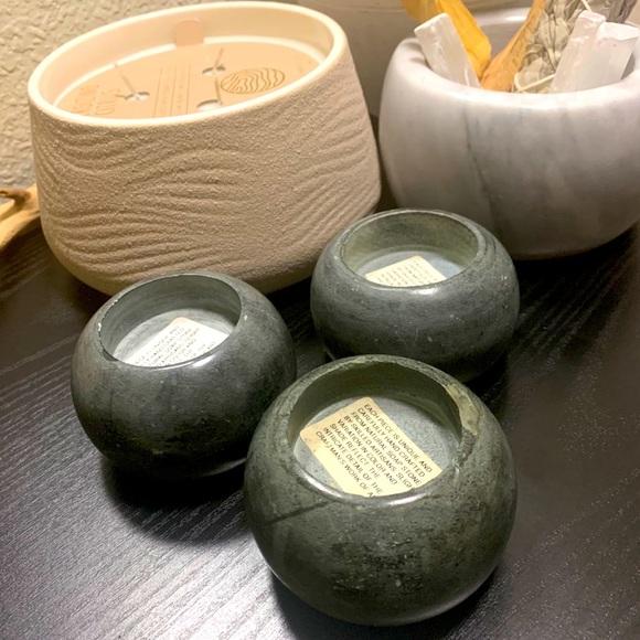 Vintage stone tea light candle holders